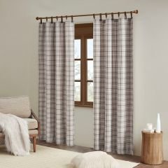 Plaid Curtain Panel With Faux Leather Tabs