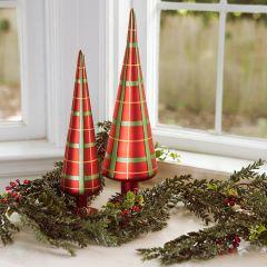 Plaid Glass Cone Tree Set of 2