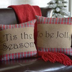 Plaid Holiday Cheer Throw Pillow Set of 2