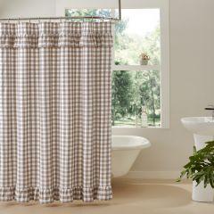Portabella Buffalo Check Ruffled Shower Curtain