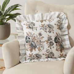 Portabella Floral Ruffled Throw Pillow