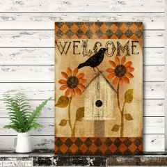 Primitive Crow Welcome Sign Canvas Wall Art