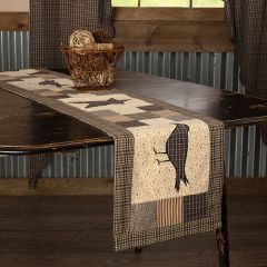 Primitive Patchwork Crow And Star Table Runner 13x72