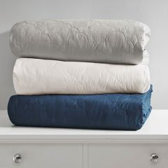 Quilted Cotton Weighted Blanket Grey
