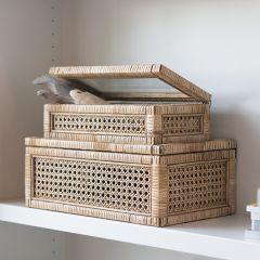 Rattan And Wood Keepsake Storage Box, Set of 2