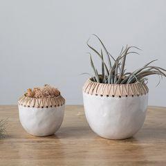 Rattan Stitched Stoneware Planter Pot