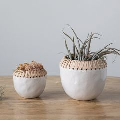 Rattan Stitched Stoneware Planter Pot One of Each