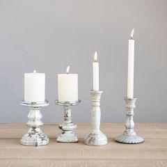 Reactive Glaze Pillar Candle Holder Set of 2