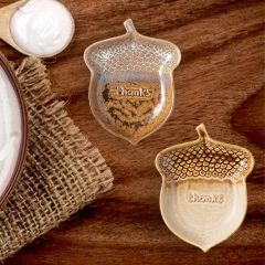 Reactive Glaze Stoneware Acorn Dish, Set of 2
