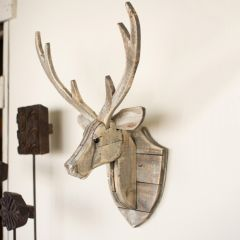 Reclaimed Wood Deer Head Wall Decor