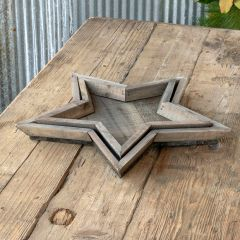 Reclaimed Wood Star Trays, Set of 2