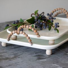 Rectangle Enameled Tray With Bead Handles Set of 2