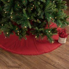 Red Fringed Burlap Tree Skirt 48 Inch