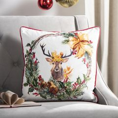 Reindeer Wreath Holiday Accent Pillow