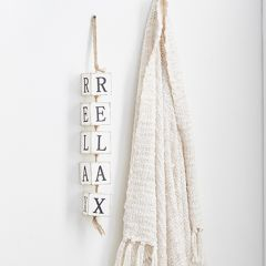 Relax Hanging Wood Block Sign
