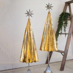 Retro Folded Gold Metal Tree Figurines Set of 2