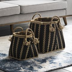 Rope Handled Wicker Baskets, Set of 2