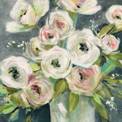 Rose Bouquet In Vase Canvas Wall Art