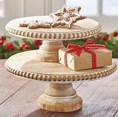 Round Beaded Wood Pedestal Stand Set of 2