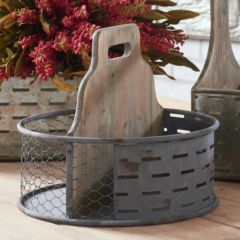 Round Tin Divided Tabletop Caddy