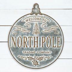 Round Ornament North Pole Trading Company Sign