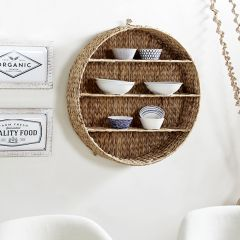 Round Wicker Hanging Display Shelf