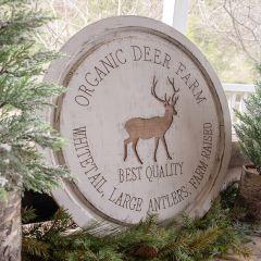 Round Wooden Organic Deer Farm Sign
