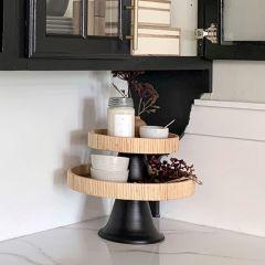 Round Woven Display Pedestal, Set of 2