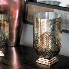 Rustic Elegance Copper Glass Candle Holder