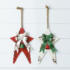 Rustic Hanging Metal Star With Bow Set of 2