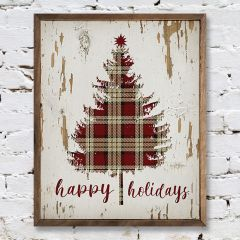 Rustic Holiday Plaid Tree Art