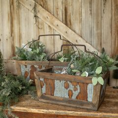 Rustic Metal And Wood Box With Handles Set of 2