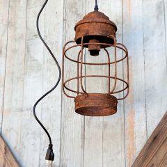 Rustic Hanging Metal Cage Light