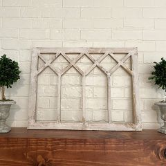 Rustic Pale Finish Window Wall Decor