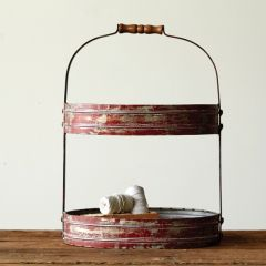 Rustic Red Tin Oval 2 Tier Tray