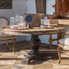Rustic Round Pedestal Dining Table