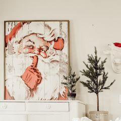 Rustic Vintage Inspired Santa Framed Wall Decor