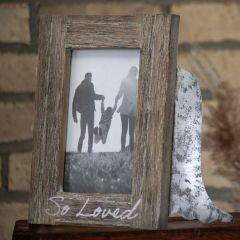 Rustic Wood and Metal Angel Wing Frame
