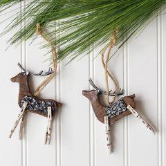 Rustic Wood Deer Tree Ornament Set of 2