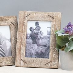 Rustic Wood Photo Frame With Nail Accents