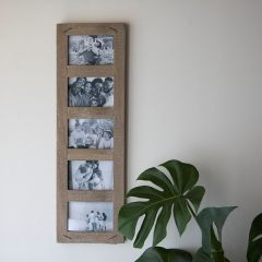 Rustic Wood Vertical Five Photo Frame