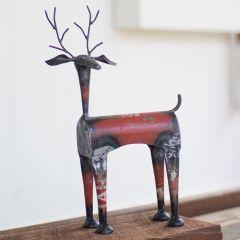 Salvaged Metal Deer Figure