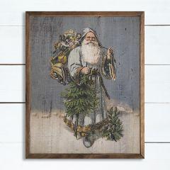 Santa Blues Framed Wood Wall Art
