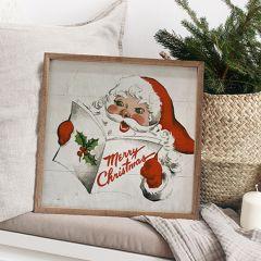 Santa Caroling White Framed Wall Art