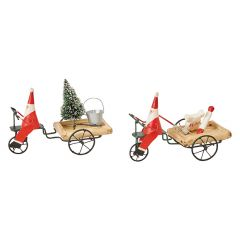 Santa Pulling Cart Figure Set of 2