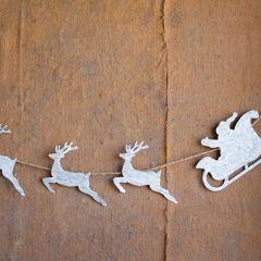 Santa Sleigh And Reindeer Garland