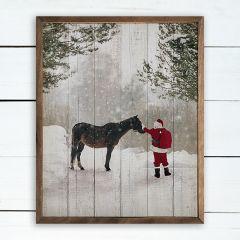 Santa With Horse Framed Holiday Wall Decor
