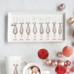 Santas Reindeer Stoneware Platter