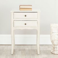 Scalloped End Table With Storage Drawers
