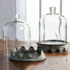 Scalloped Tin Base Glass Cloche